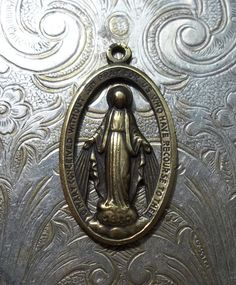 Golden Oxidized Brass Openwork Oval Italian Miraculous Medal Of The Immaculate Conception 1830 Blessed Virgin Mary Mother Of God