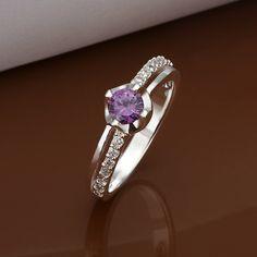 Elegant+Crystal+Purple+Rhinestone+Silver+Plated+Inlaid+Zircon+Ring