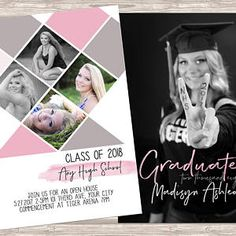 Check out our senior announcement template selection for the very best in unique or custom, handmade pieces from our shops. Senior Announcements, Class Of 2018, Photoshop, Templates, Girls, Etsy, Toddler Girls, Stencils, Daughters