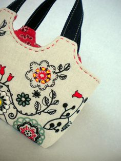 Folklore Flower Embroidered Tote