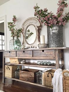 IKEA Norden sideboard makeover. The before and after of this furniture makeover is amazing! LOVE this farmhouse family room!