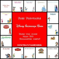 Disney Autograph Book Printable