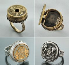 California's Matthew Moerman offers an inventive mix of clock gears, coins and vintage buttons in his collection, Reclaimed Relics.  http://www.behance.net/baxtermoerman http://www.baxtermoerman.com/rings/  #repurposed #jewelry #jewellery