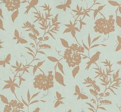 April (839-T-4748) - Thibaut Wallpapers - A pretty flower, butterfly and bird trailing design in two colours - metallic gold on aqua blue with lustre effect. Paste the wall, wide width and vinyl coated. Please request sample for true colour match. Delivery for this American wallcovering is 7-10 w