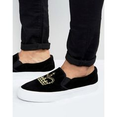 ASOS Slip On Sneakers in Black Faux Suede With Crown Embroidery ($31) ❤ liked on Polyvore featuring men's fashion, men's shoes, men's sneakers, black, mens canvas sneakers, mens black shoes, mens black sneakers, mens black slip on sneakers and mens canvas slip on sneakers