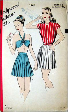 Vintage 1940s- Soda Pop  PIN -UP Ensemble- Hollywood Sewing Pattern -Halter Bra Top- Accodion Pleated Shorts Cropped Jacket- Size 16-  Rare. $55.00, via Etsy.