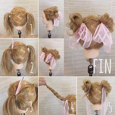 19 Hairstyles For School Videos Korean Kawaii Hairstyles, Work Hairstyles, Pretty Hairstyles, Braided Hairstyles, Lolita Hair, Natural Hair Styles, Short Hair Styles, Hair Arrange, Anime Hair