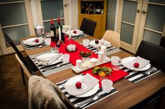 Modern holiday table setting idea: Mixing your own pieces with affordable pieces from IKEA