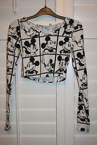 Jade!!Primark Retro Mickey Mouse Disney T Shirt Monochrome Crop Top Tee UK 6 20 | eBay
