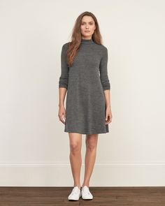 Womens Mock Neck Swing Dress | Womens Dresses & Rompers | eu.Abercrombie.com