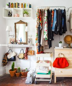 10 IKEA Storage Hacks for When You Need an Extra Closet [or Don't Even Have a Closet! Ikea Storage, Storage Hacks, Closet Storage, Furniture Storage, Bedroom Storage, Storage Ideas, Wardrobe Storage, Raskog Ikea, Raskog Cart