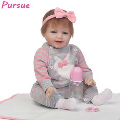 """Pursue 22""""/55cm Smile Baby Face Bebe Reborn Silicone Realista Doll for Sale bonecas reborn bebes silicone menina 55cm Brown Eyes"""