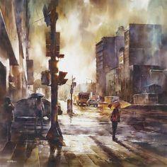 """Schöne Watercolor-Paintings (hört sich jetzt einfach besser an als """"Wasserfarben-Gemälde"""") von dem aus Taipeh kommenden Maler Lin Ching-Che, der an regnerischen Tagen Fotos von Menschen aus seiner Stadt macht und anschließend aus diesen Bildern als Vorlage seine Artworks erstellt. Der Typ ist erst 25 Jahre und hat bereits mehrere Auszeichnungen bekommen. Schöne Farben, guter Strich, düstere, urbane Atmosphäre; noch ein... Weiterlesen"""
