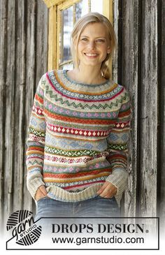 Winter Carnival / DROPS – Knitted sweater in DROPS Karisma. The work is knitted from top to bottom with round yoke, Norwegian pattern and A-cut. Knitted hat in DROPS Karisma. The work is knitted with Norwegian pattern and stripes. Fair Isle Knitting Patterns, Knitting Stitches, Knit Patterns, Free Knitting, Knitting Sweaters, Afghan Patterns, Amigurumi Patterns, Crochet Pullover Pattern, Crochet Hat Patterns