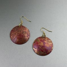 Copper Earrings / As beautiful as an autumn day, these Red #Patinated #Copper Disc Earrings feature hues of Copper, Red, Maroon, and Brown, with a Raku-style texture. No two earrings are alike, making them truly unique. $45