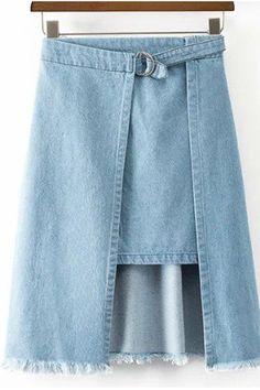 ec92a753625 Chic Light Blue Denim Faux Twinset Skirt For Women