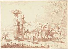 Cornelis van Noorde   Herder en een vrouw met koeien en schapen, Cornelis van Noorde, Nicolaes Pietersz. Berchem, 1768   Een herder met een staf en een vrouw met een mand op haar hoofd staan achter twee koeien en vier schapen. Links van hen staat een hond.