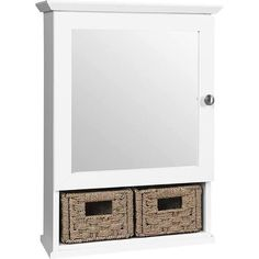 Glacier Bay 19-3/4 in. x 27-3/4 in. Framed Surface-Mount Medicine Bathroom Cabinet with 2 Baskets in White