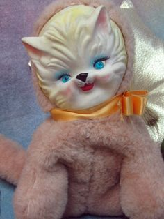 "VINTAGE 1950's RUBBER FACE stuffed animal CAT plush kitty TOY tan faux fur 11""  #Vintage"