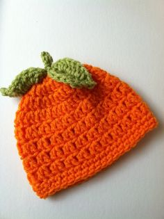 Halloween Crochet Baby Hat Orange Pumpkin by LakeviewCottageKids, $18.00