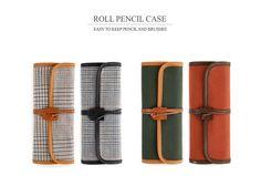 Indigo 2014 Ver2 Cowhide Roll Pencil Pen Pouch Case School Supplies HandMade NWT #Indigo