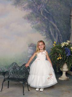 Straps natural waist tulle dress for flower girl