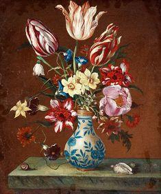 Балтазар ван дер Аст. Букет в китайской вазе на мраморном столе