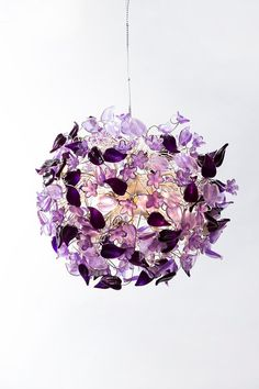 A little taste of Aya ana John Fall Collection. For product information info@ayaandjohn.com  Purple Haze Ceiling Pendant Light / #HandMade / #purple, Lilac, Lavender and violet Flowers and #Leaves