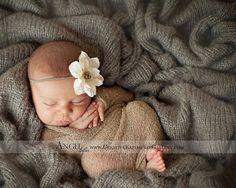 RTS Newborn Mocha Photography Prop, Newborn Stretch Wrap and Headband, Newborn Photo Prop, Baby Girl Flower Headband