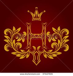 Patterned golden letter H #monogram in vintage style. #Heraldic coat of arms. Baroque #logo template.