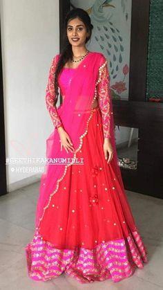 Half Saree Lehenga, Bollywood Lehenga, Anarkali Dress, Half Saree Designs, Fancy Blouse Designs, Lehenga Designs, Saree Draping Styles, Saree Styles, Lehenga Pattern