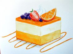 SALE!!-Original Watercolor Painting-Orange Mousse Cake with Mixed Fruits Topping/Sweet/Dessert/Pastry/Food Art/Kitchen Wall Art/5x7