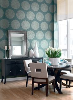 Traditional Medallions Wallpaper in Metallic and Greens design by Seabrook Wallcoverings