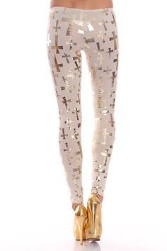 Cream Gold Metallic Cross Print Elastic Waist Leggin Pant @ Amiclubwear Pants Online Store: sexy pants,sexy club wear,women's leather pants, hot pants,tight pants,sweat pants,white pants,black pants,baggy pants,smarty pants,plastic pants,women's jeans,pla