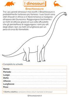 Tante schede didattiche dedicate ai dinosauri per bambini della scuola primaria in PDF da stampare e da usare come verifica di storia o approfondimento Yabba Dabba Doo, History For Kids, Problem Solving, Homeschool, Coding, Activities, 3, Studio, Google