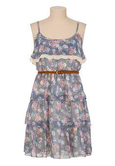 Belted Floral Print Chiffon Dress
