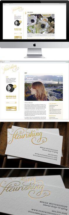 Fleurishing blog & gold foil business cards | Curious & Co. Creative