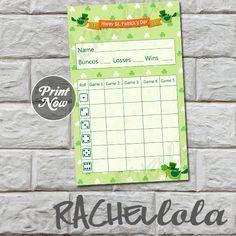 St Patricks Day Bunco score card by Rachellola on Etsy