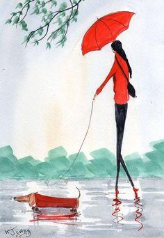 umbrellas.quenalbertini: The Dachshund, My New Red Coat by KJ Carr   eBay