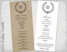 Wedding program template black Leaf by diyweddingsprintable