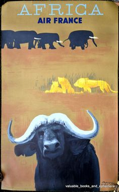Paul Colin Original Air France Vintage Travel Poster, STUNNING. Printed 1956 in France. Measures 24 1/2 x 39 1/4 inches. Featuring African wildlife including water buffalo, lions, elephants (safari / animals / Serengeti / Kalahari / Masai Mara / etc)