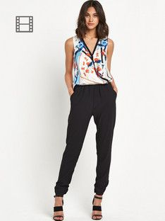 River Island Tipped Printed Top Jumpsuit