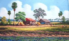 My country ! Watercolor Art Landscape, Landscape Paintings, Village Scene Drawing, Nature Drawing, Beautiful Drawings, Drawing For Kids, Vietnam, Scenery, Harvest