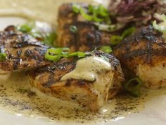 Sixteen-Spice-Rubbed Chicken Breast with Black Pepper Vinegar Sauce and Green Onion Slaw