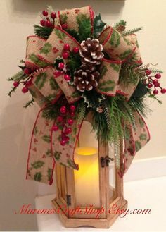 Burlap lantern swag/ tree topper/ with berries acorns and holy/ christmas Lantern swag/ primitive lantern swag/ country lantern swag Christmas Lanterns, Christmas Bows, Christmas Tree Toppers, Rustic Christmas, Christmas Holidays, Christmas Ornaments, Christmas Arrangements, Christmas Centerpieces, Xmas Decorations