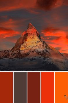This icy Swiss mountain surrounded by clouds produces this color scheme, which includes black and a range of reds. Red Colour Palette, Paint Color Palettes, Color Azul, Colour Schemes, Color Combos, Paint Colors, Sunset Colors, Beautiful Color Combinations, Color Harmony