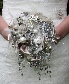 Large Teardrop Diamante and Pearl Bridal Brooch by pearlandco, £300.00 / instead of passing on a dress how bout a bouquet:)