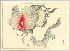 Kawanabe Kyosai: Rooster and Weasel - Kyosai Gafu - Artelino