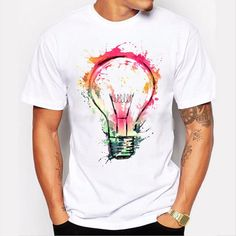 Men's Cool Painted Bulb Design T shirt Tee