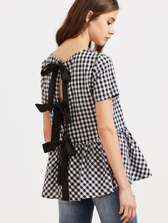 Black And White Checkered Bow Split Back Peplum Top Mobile Site